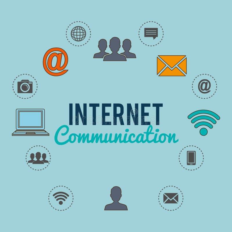 Conexión a internet con los medios iconos sociales ilustración del vector