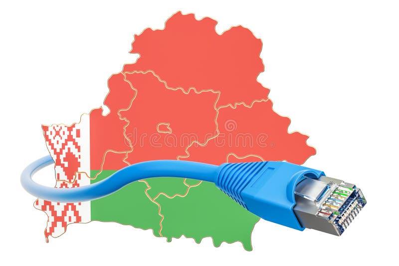 Conexión a internet en el concepto de Bielorrusia representación 3d stock de ilustración