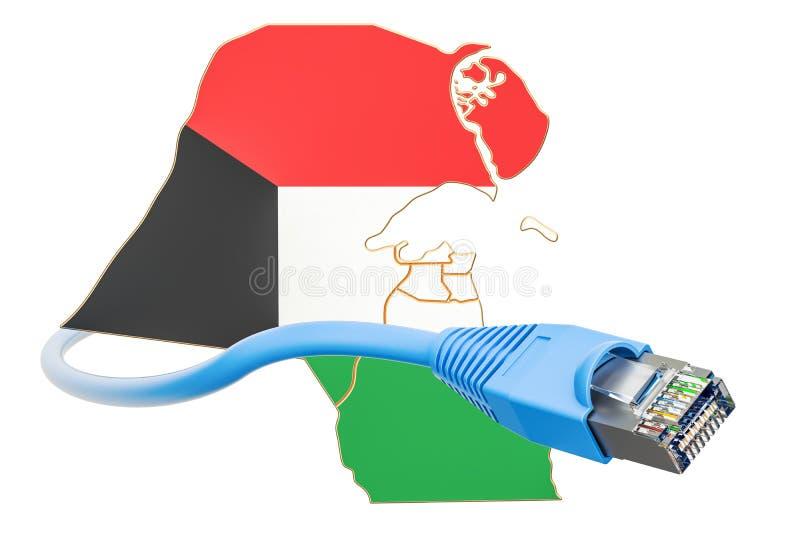 Conexión a internet en el concepto de Kuwait representación 3d stock de ilustración