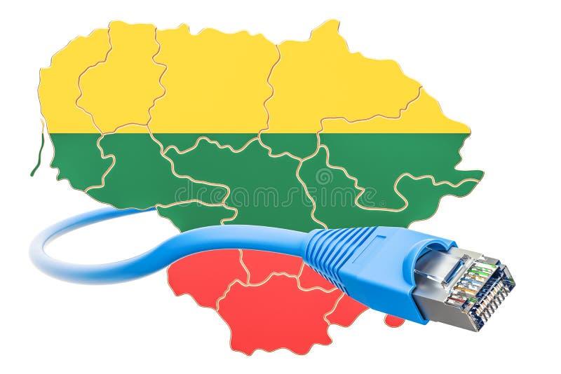 Conexión a internet en el concepto de Lituania representación 3d stock de ilustración