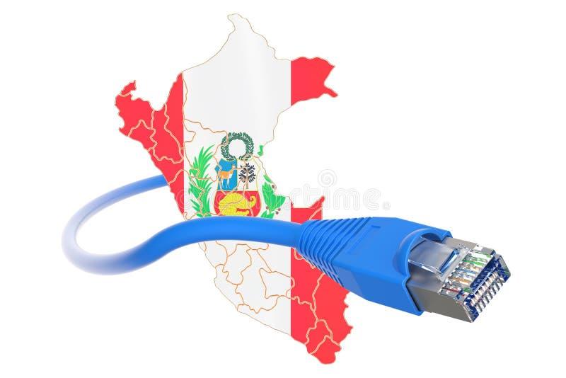 Conexión a internet en el concepto de Perú representación 3d stock de ilustración