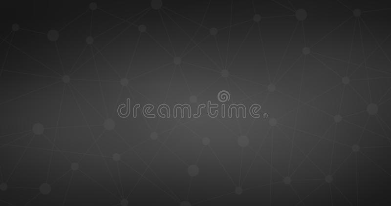 Conexión a internet negra, fondo abstracto molecular sentido de la ciencia y del diseño gráfico de la tecnología Ilustraci?n del  ilustración del vector