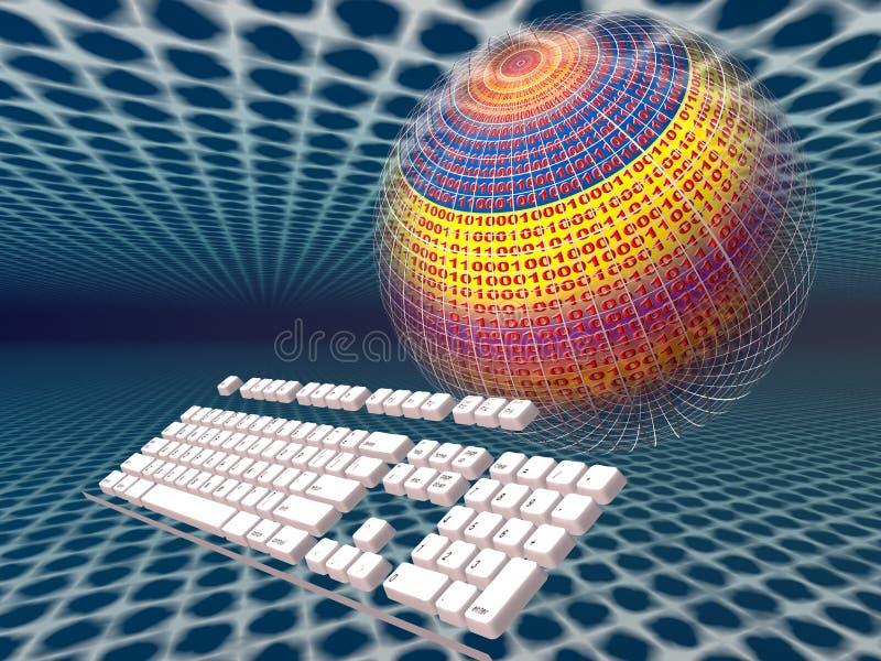 Conexión a internet, teclado ilustración del vector