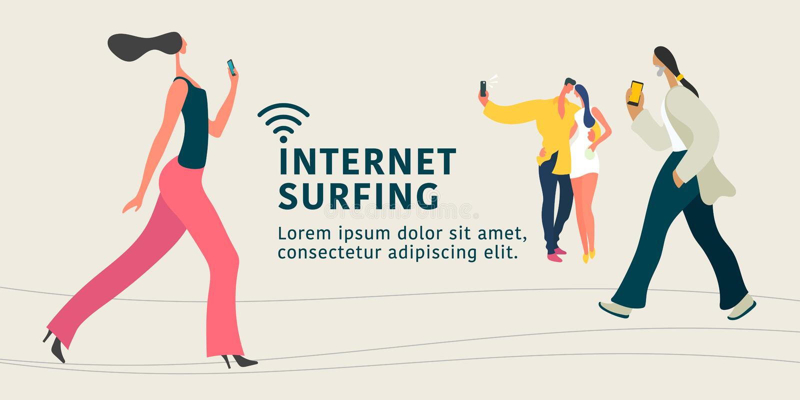 Conexión a internet y ejemplo plano de la gente del concepto moderno del vector, bandera ilustración del vector