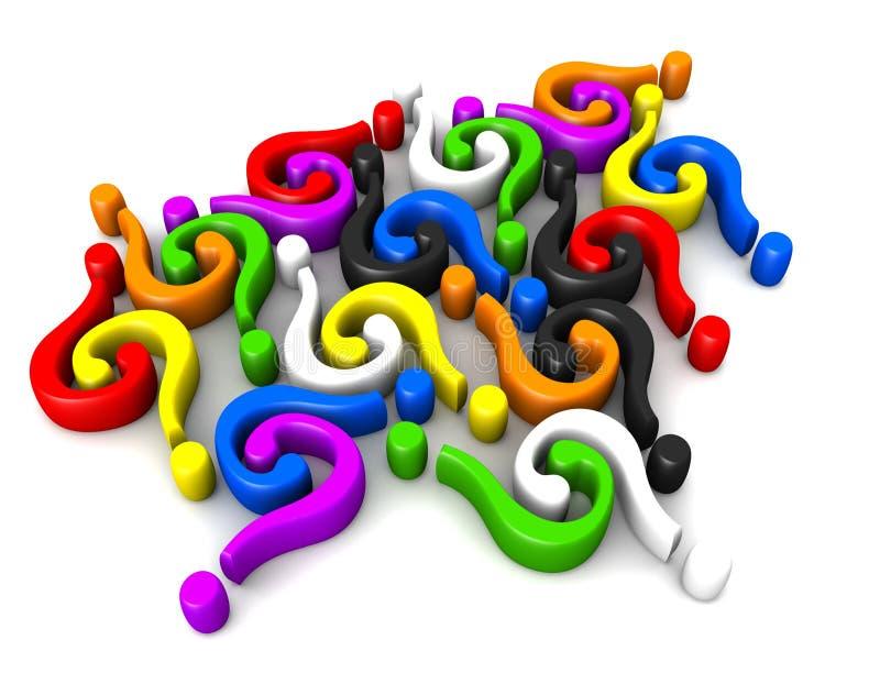 Conexión multicolora de las pregunta-marcas stock de ilustración