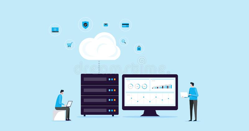 Conexión plana del almacenamiento de la nube de la tecnología del concepto de diseño del ejemplo con la tecnología recibimiento d ilustración del vector