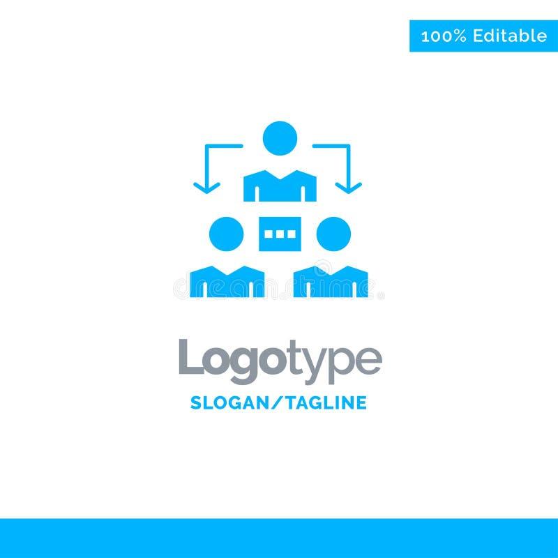 Conexión, reunión, oficina, comunicación Logo Template sólido azul Lugar para el Tagline stock de ilustración