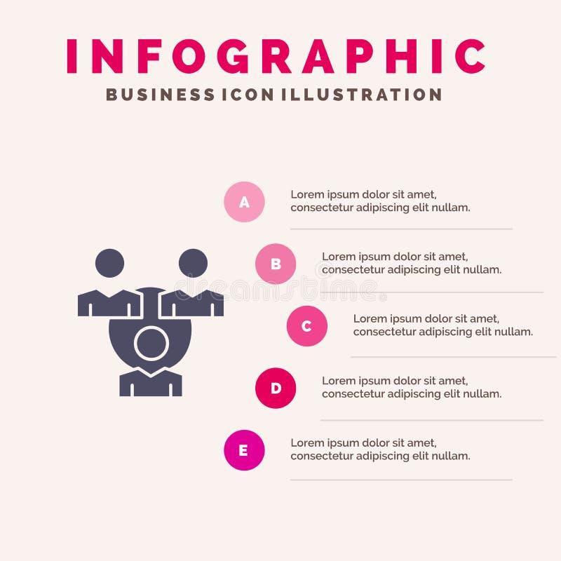 Conexión, reunión, oficina, fondo sólido de la presentación de los pasos de Infographics 5 del icono de la comunicación ilustración del vector