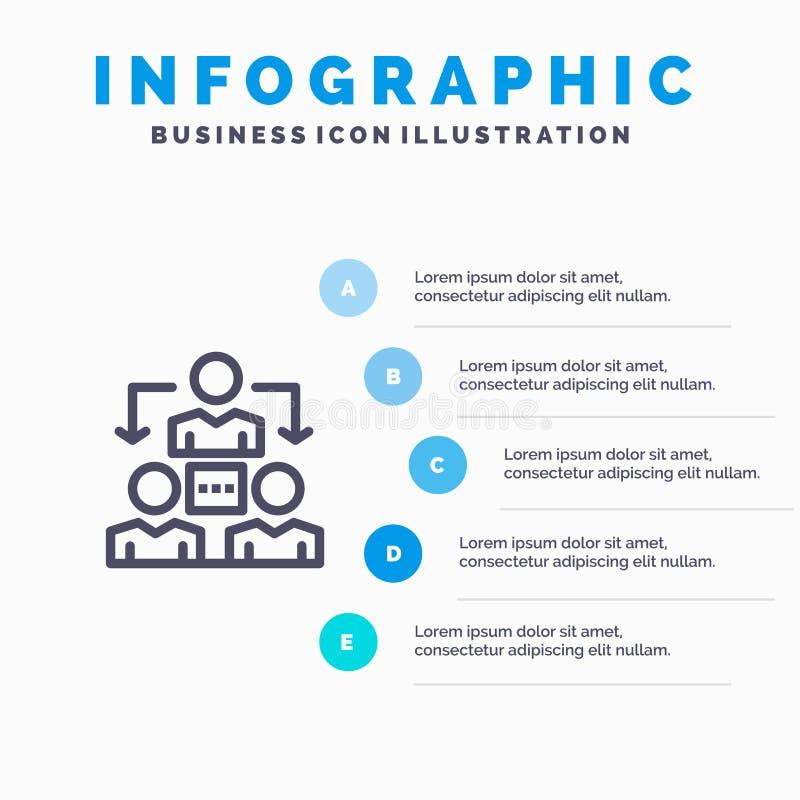 Conexión, reunión, oficina, línea de comunicación icono con el fondo del infographics de la presentación de 5 pasos stock de ilustración