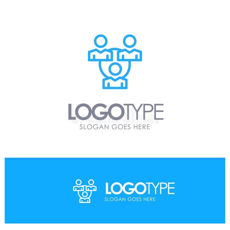 Conexión, reunión, oficina, logotipo azul del esquema de la comunicación con el lugar para el tagline stock de ilustración