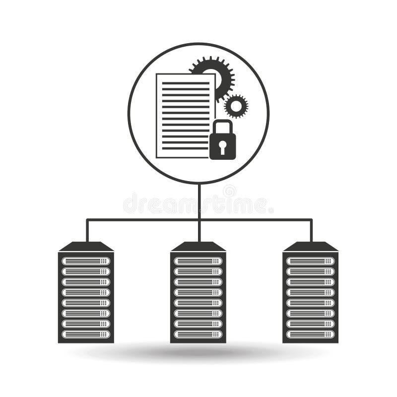 Conexión segura del centro de datos del trabajo del documento ilustración del vector