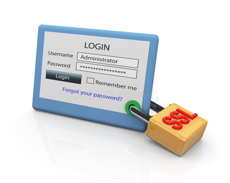 Conexión segura del SSL ilustración del vector