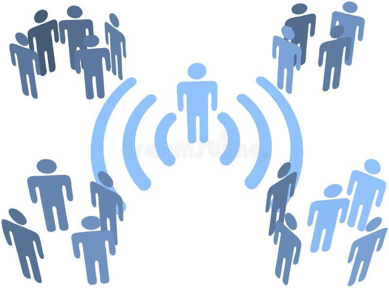 Conexión sin hilos del wifi de la persona a los grupos de la gente ilustración del vector