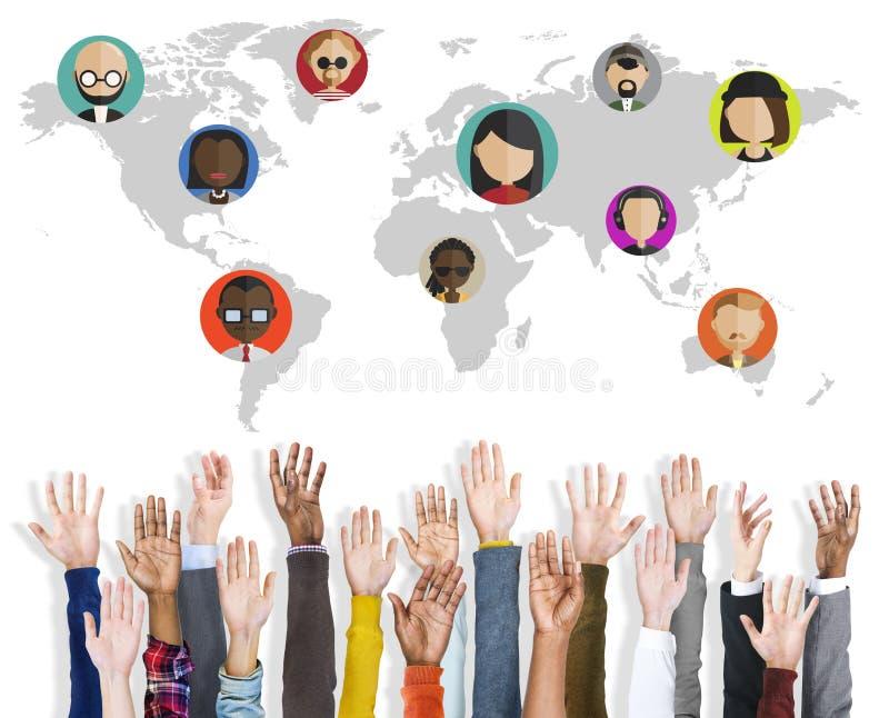 Conexión social Conce del establecimiento de una red de la comunidad de la gente global del mundo ilustración del vector