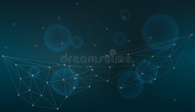 Conexión tecnológica en el ordenador de la nube, red azul del punto, fondo abstracto, concepto de representación de la red Medios ilustración del vector