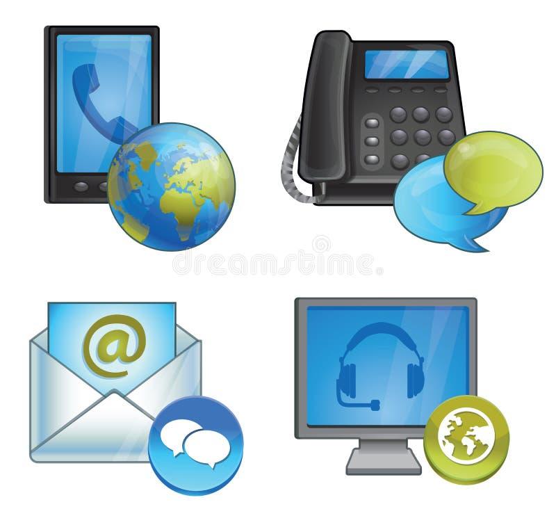 Conexión y ayuda - teléfonos y mensajes libre illustration