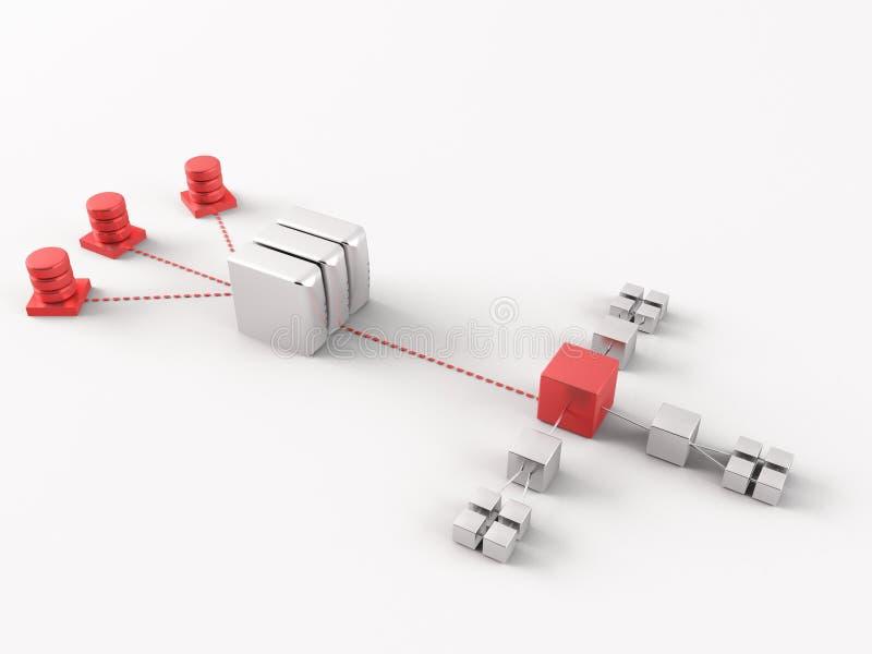 Conexión y establecimiento de una red ilustración del vector