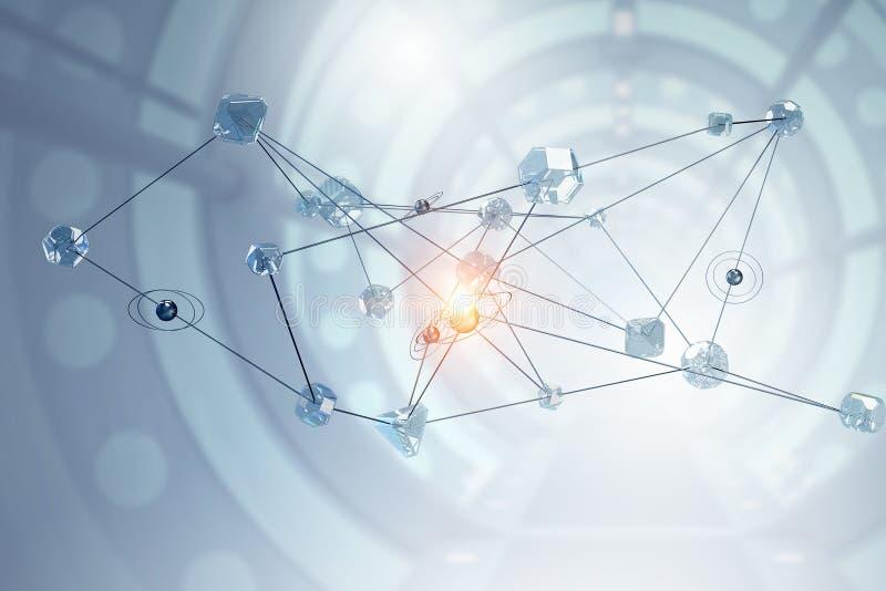 Conexión y establecimiento de una red sociales Técnicas mixtas libre illustration