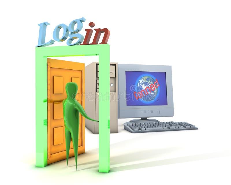Conexión y ordenador ilustración del vector