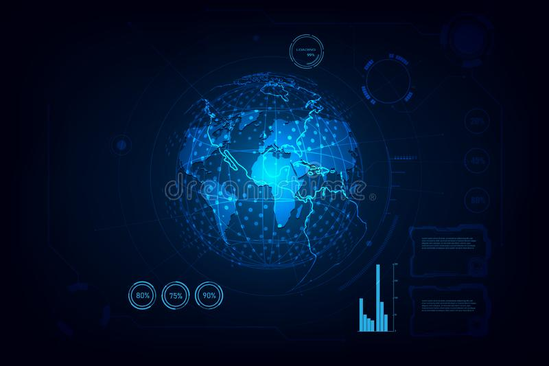 Conexi?n de red global Punto y l?nea concepto del mapa del mundo de la composici?n del negocio global Ilustraci?n del vector ilustración del vector