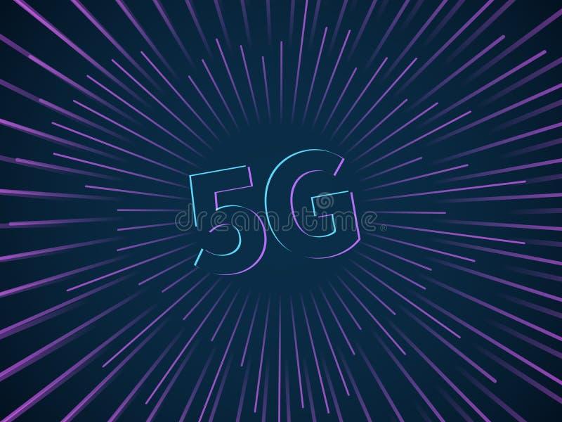 conexi?n 5g Red de banda ancha de datos de transmisi?n de la tecnolog?a del smartphone inal?mbrico de la velocidad conectar apuro libre illustration