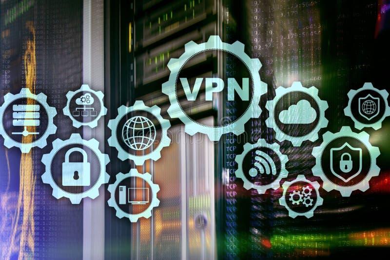 Conexi?n segura del VPN Virtual Private Network o concepto de la seguridad de Internet ilustración del vector