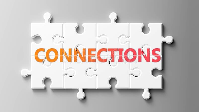 Conexiones complejas como un rompecabezas: se representan como conexiones de palabra en piezas de rompecabezas para mostrar que l ilustración del vector