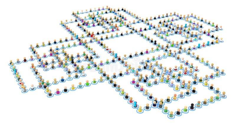 Conexiones de la muchedumbre de la historieta, cruz cuadrada ilustración del vector
