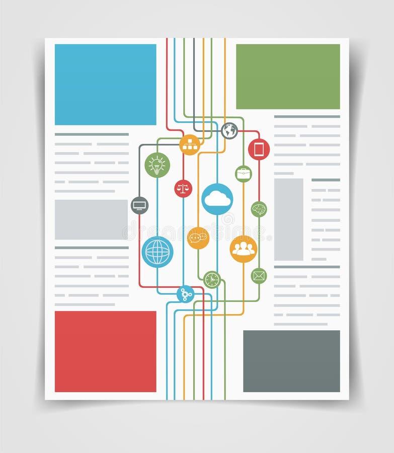 Conexiones de red del aviador o del folleto del negocio de la disposición Plantilla del web stock de ilustración