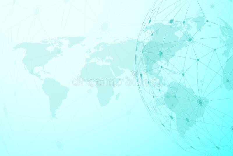 Conexiones de red global con el mapa del mundo Fondo de la conexión a internet Estructura abstracta de la conexión poligonal libre illustration