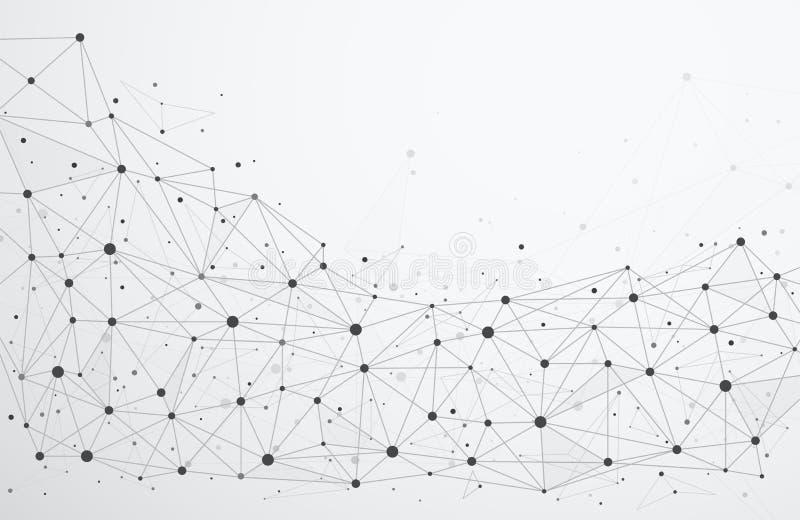 Conexiones de red global con los puntos y las líneas ilustración del vector