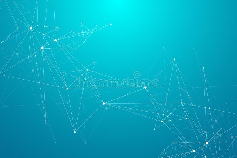 Conexiones de red global con los puntos y las líneas Fondo de Wireframe Estructura abstracta de la conexión Espacio poligonal stock de ilustración