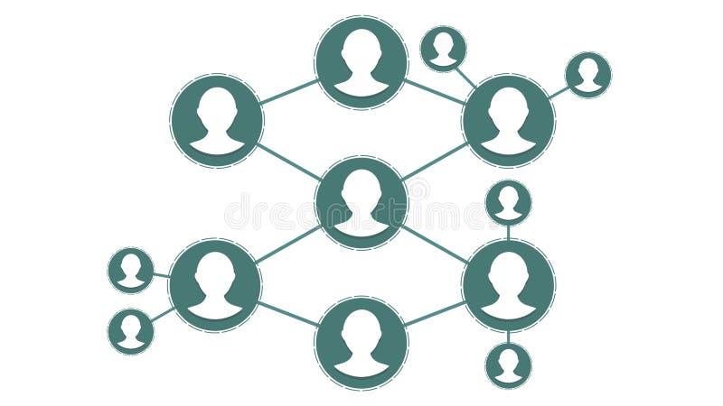 Conexiones de red sociales Gente de conexión en Internet, nodos que transforman en la forma de un mapa del mundo movimiento ilustración del vector