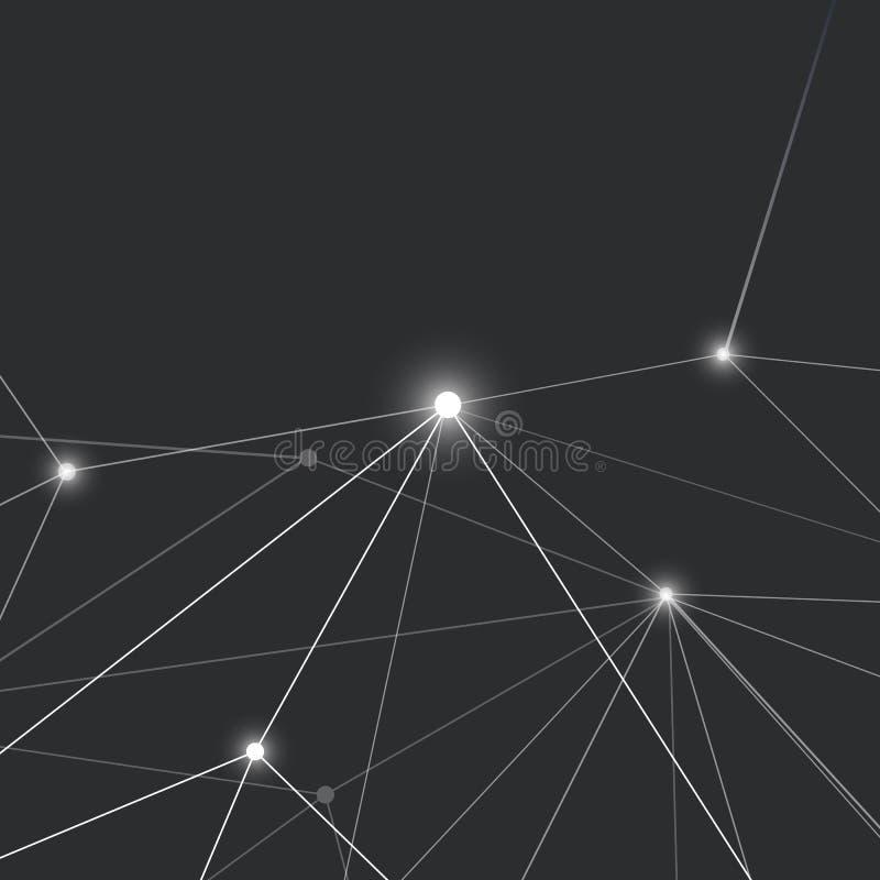 Conexiones - diseño de red molecular del negocio global - Mesh Background abstracto stock de ilustración