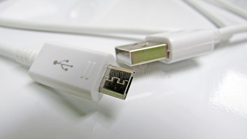 Conexiones USB y kabel fotografia royalty free