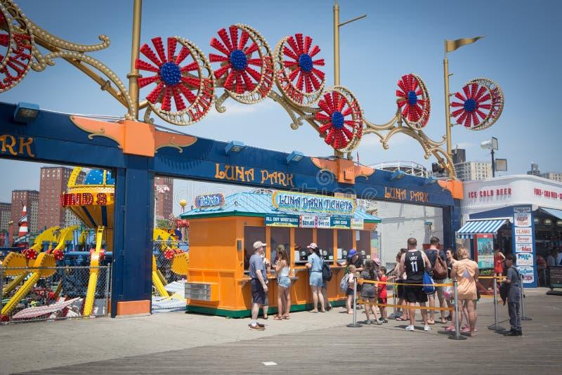 Coney Island attractions, Luna park ticket line stock photos