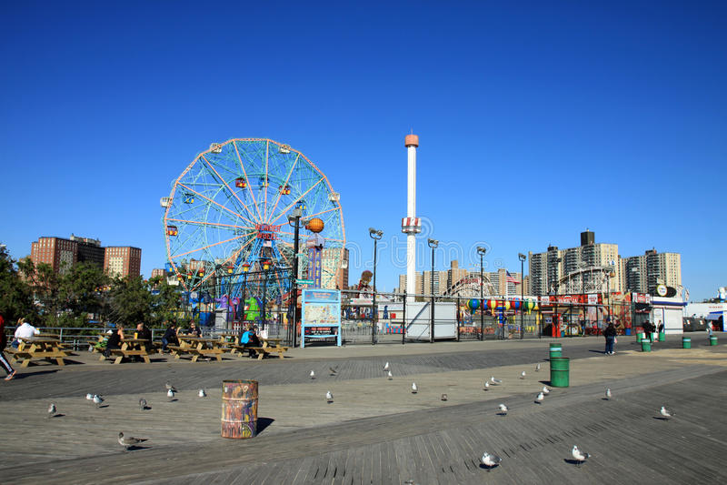 Coney Island boardwalk obraz stock