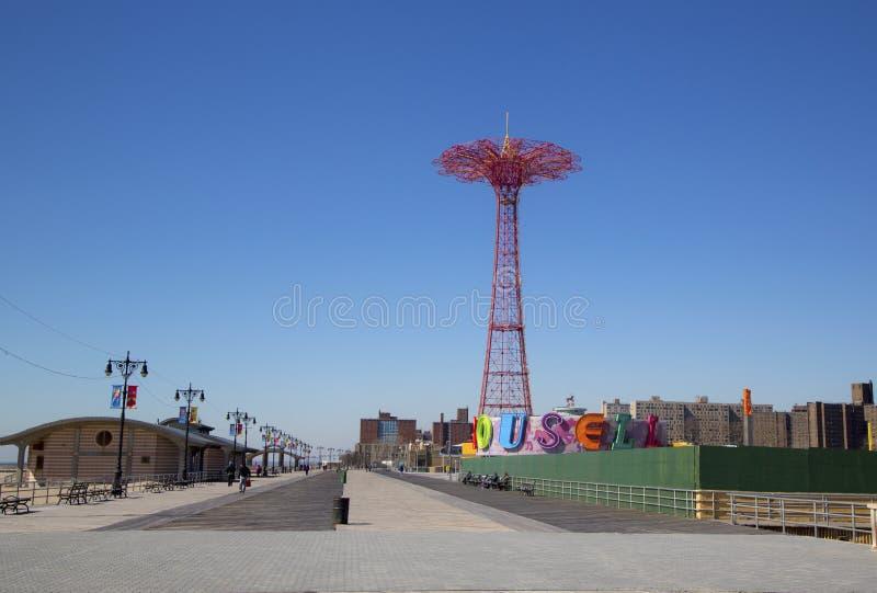 Coney Island Boardwalk with Parachute Jump stock photo