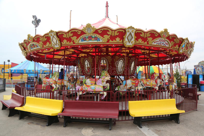 Coney Island carousel in Luna Park at Coney Island Boardwalk in Brooklyn. stock photo