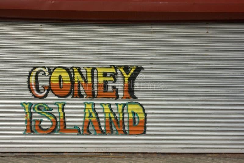 Coney Island grafitti fotografering för bildbyråer