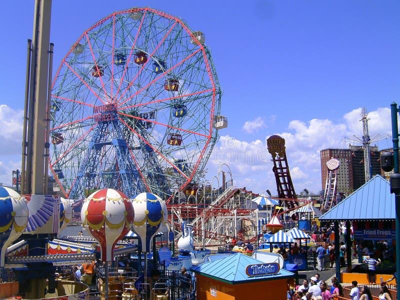 Coney Island hjul royaltyfria bilder