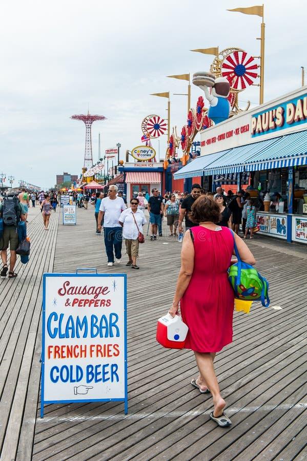 Coney Island landmark food concession on boardwalk in Brooklyn royalty free stock photography