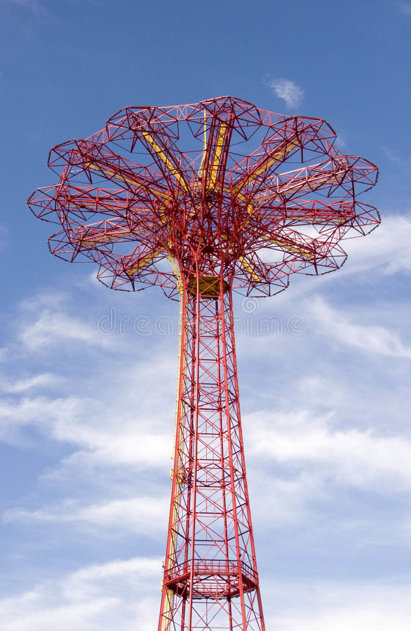 Coney Island parachute drop royalty free stock photography