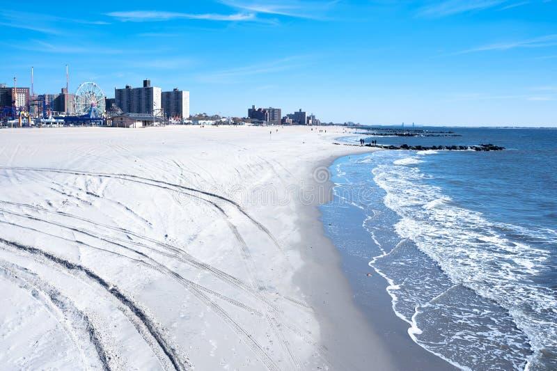 Coney Island strand, Brooklyn, New York City fotografering för bildbyråer
