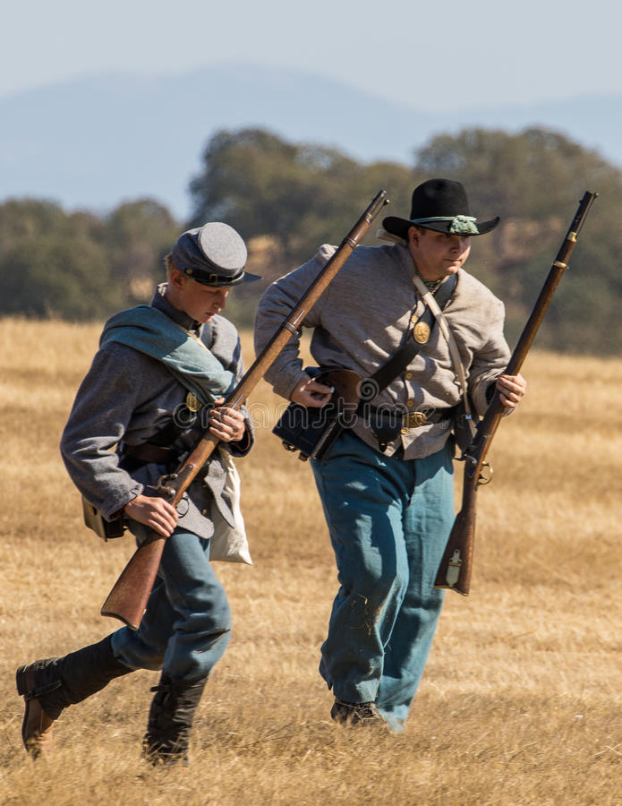 Confédérés sous le feu photo stock