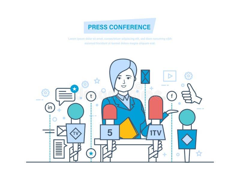 Conférence de presse Communications, dialogue de rapport vivant, entrevues, questions, media, actualités illustration de vecteur