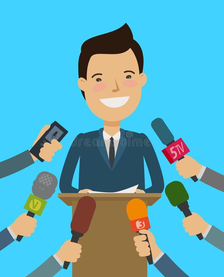 Conférence de presse Conférencier, entrevue avec des journalistes Illustration de vecteur de dessin animé illustration stock