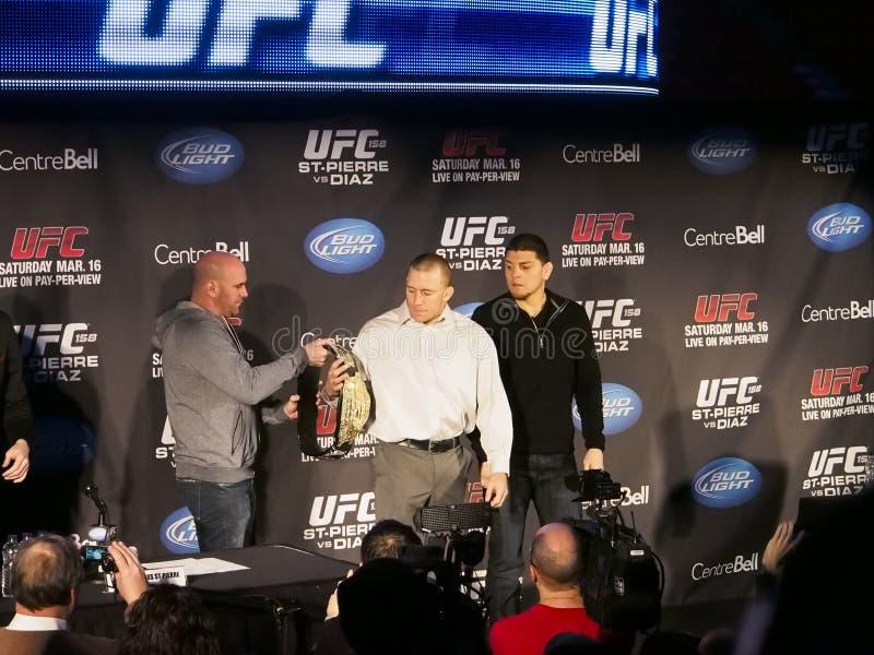 Conférence de presse d'UFC 158 image libre de droits