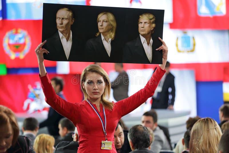 Conférence de presse du président de la Russie photographie stock