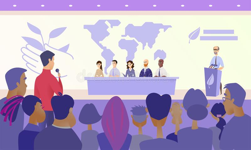 Conférence de presse sur le concept de vecteur du congrès d'Eco illustration libre de droits